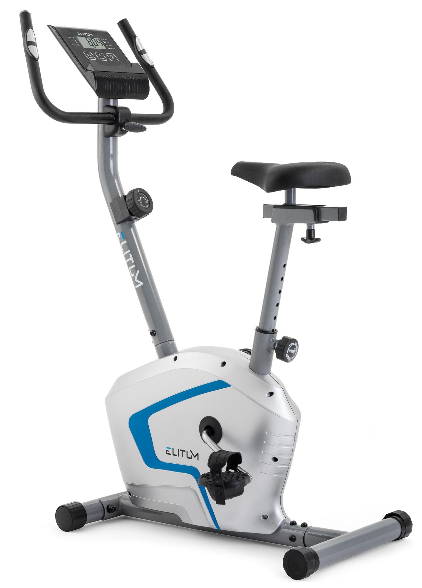 Heimtrainer Ergometer Fitnessgerät Fitnessbike Handpuls-Sensoren Display silber