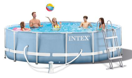 INTEX Prism Metal Frame Swimming Pool Schwimmbecken 457x84 cm Komplett-Set 28728