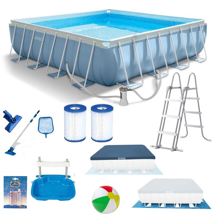 Intex Prism Frame Pool 427 x 427 x 107 cm Schwimmbad Schwimmbecken ...