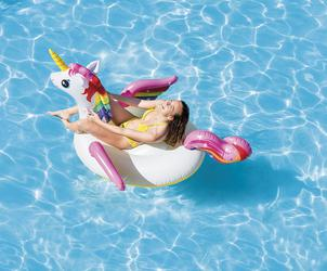 INTEX 57561 Aufblasbares Einhorn Unicorn Ride-On Badetier 201x140x97 cm