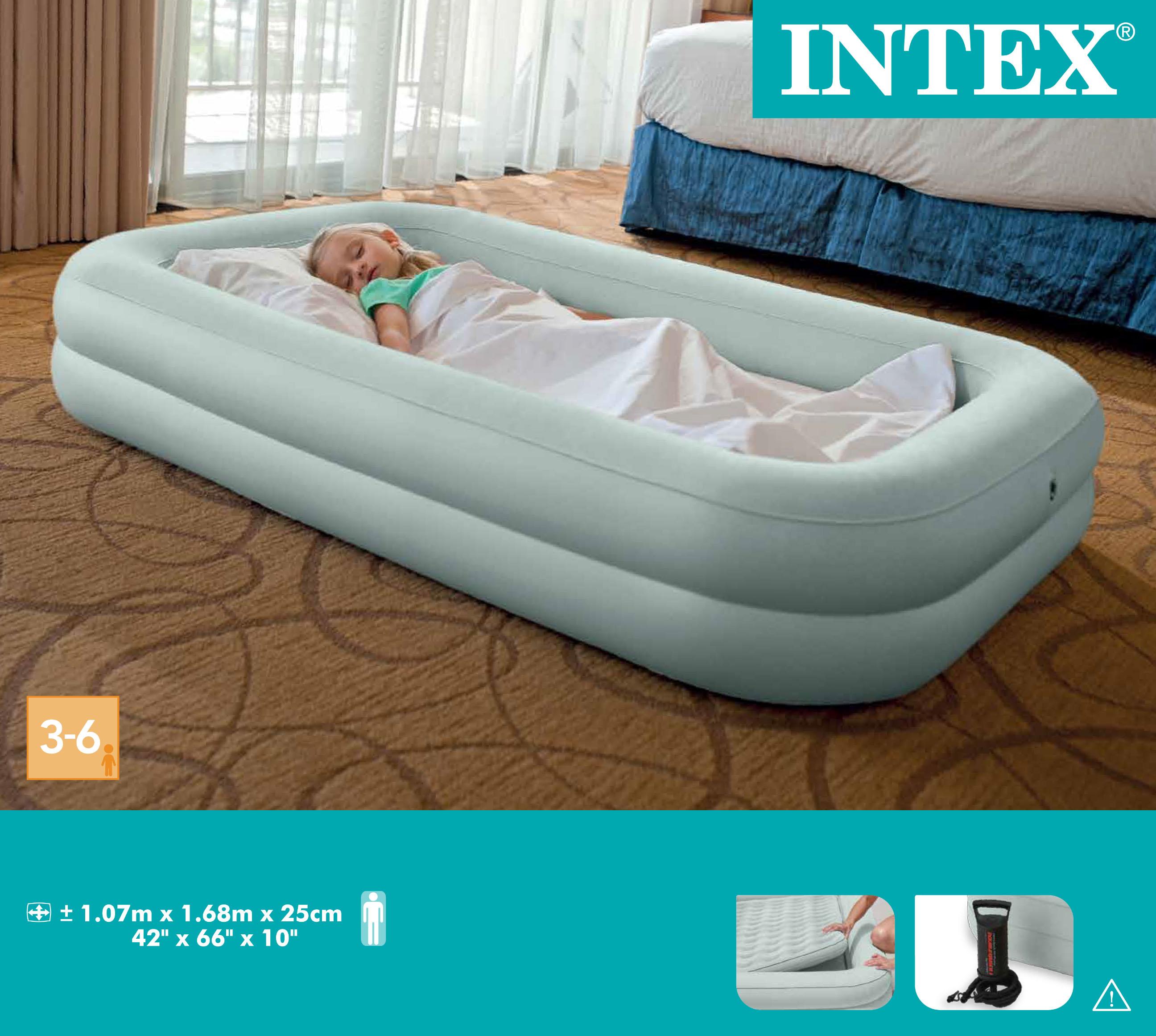 Gästebett INTEX Reisebett Kinderbett 107x168x25cm Luftbett mit Pumpe Gästebett Bett Camping-Schlafausrüstung