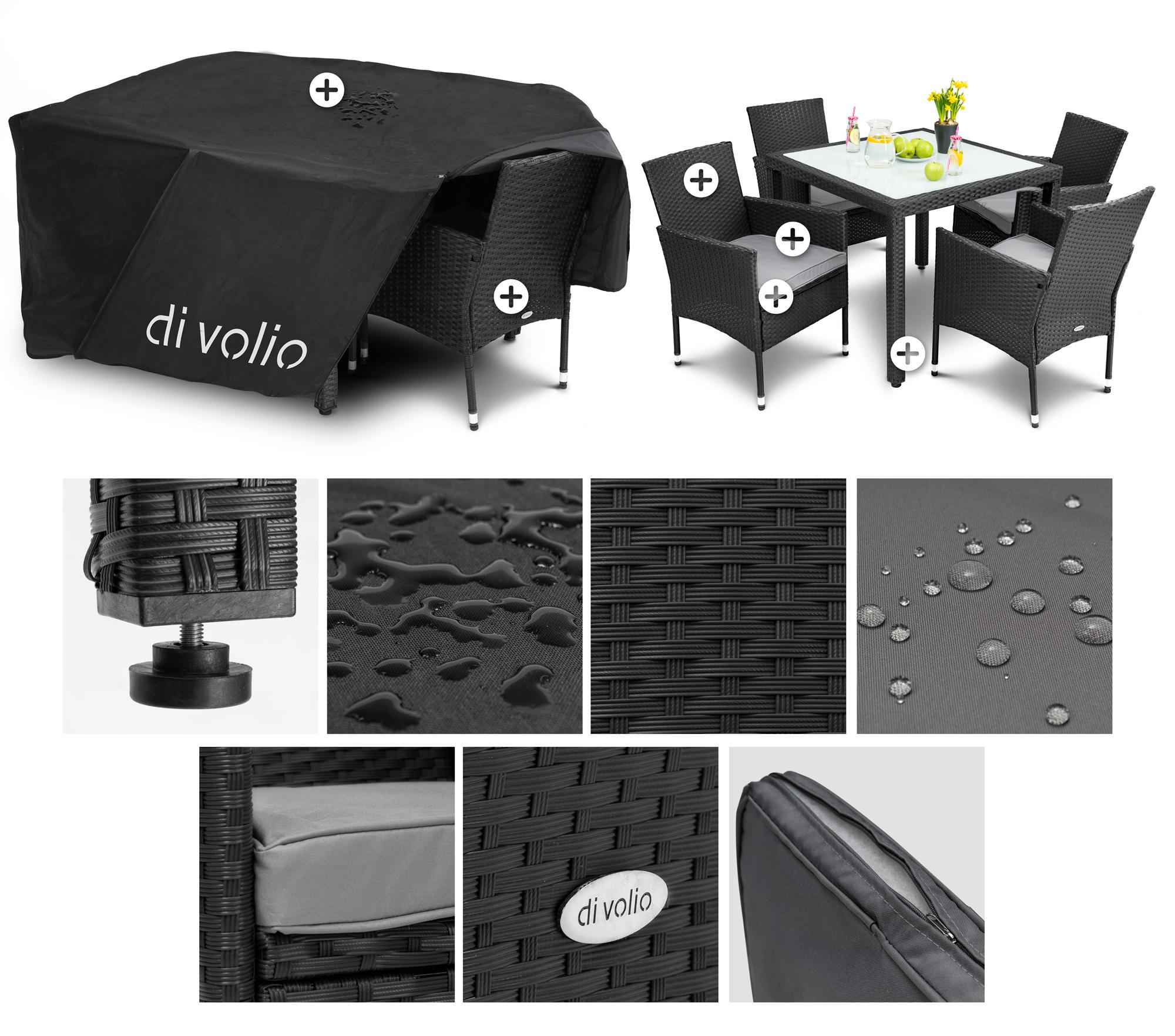 Gartenmöbel Set Stühlen 4 und mit SchwarzGrau Tisch VERONA 1 Set diVolio LUzGqMVpS