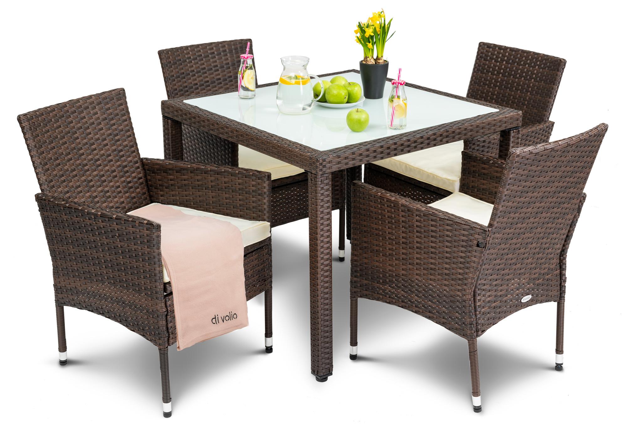 Divolio Gartenmobel Set Mit Tisch Und Stuhlen Verona Set 4 1 Braun Creme Hop Sport De