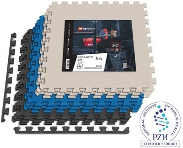 Unterlegmatte Puzzlematte EVA 1cm Schwarz/Weiß/Blau - 9 Stück