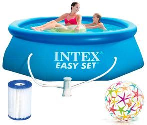 INTEX Easy Set Swimming Pool 244x76 cm Schwimmbecken Quick-Up Schwimmbad 28112 mit Filterpumpe