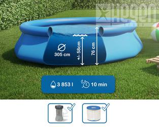 INTEX Easy Set Swimming Pool 305x76 cm Schwimmbecken Quick-Up Schwimmbad 28122 mit Filterpumpe