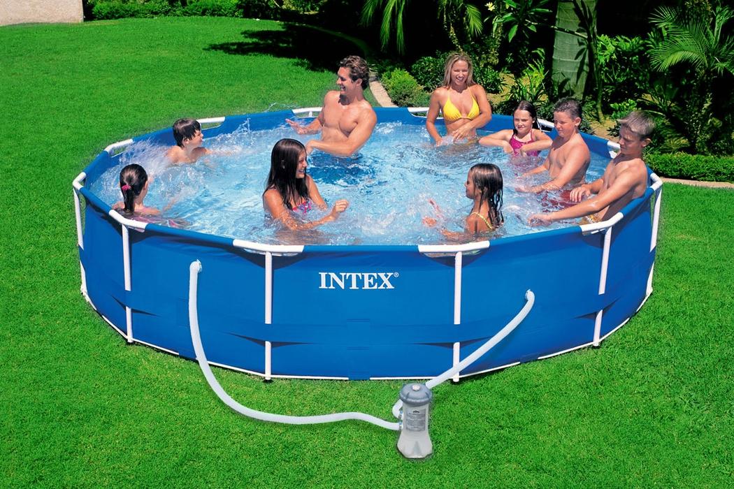Intex Metal Prism Frame Swimming Pool 366x76 Cm Schwimmbecken Mit