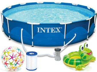 INTEX Metal Prism Frame Swimming Pool 366x76 cm Schwimmbecken mit Pumpe 28212