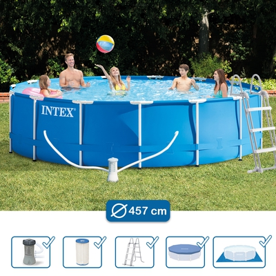 Swimming Pool 28234 Intex Metal Frame 457 x 107 cm mit Pumpe  - 1
