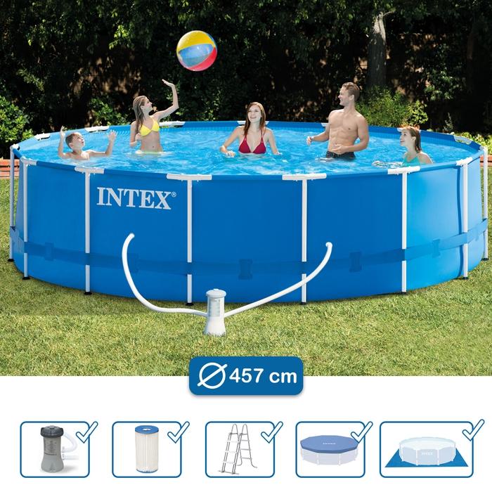 Swimming Pool 28236 Intex Metal Frame Schwimmbecken 457 X 122 Cm Mit