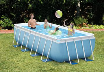 INTEX Prism Frame Swimming Pool 488x244x107 cm Rechteck Stahlwand Leiter & Pumpe 28318