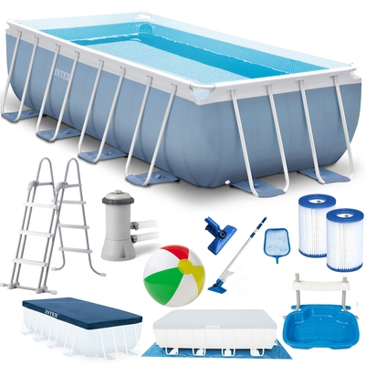 INTEX Prism Frame Swimming Pool 488x244x107 cm Rechteck Stahlwand Leiter & Pumpe 28318 - 1