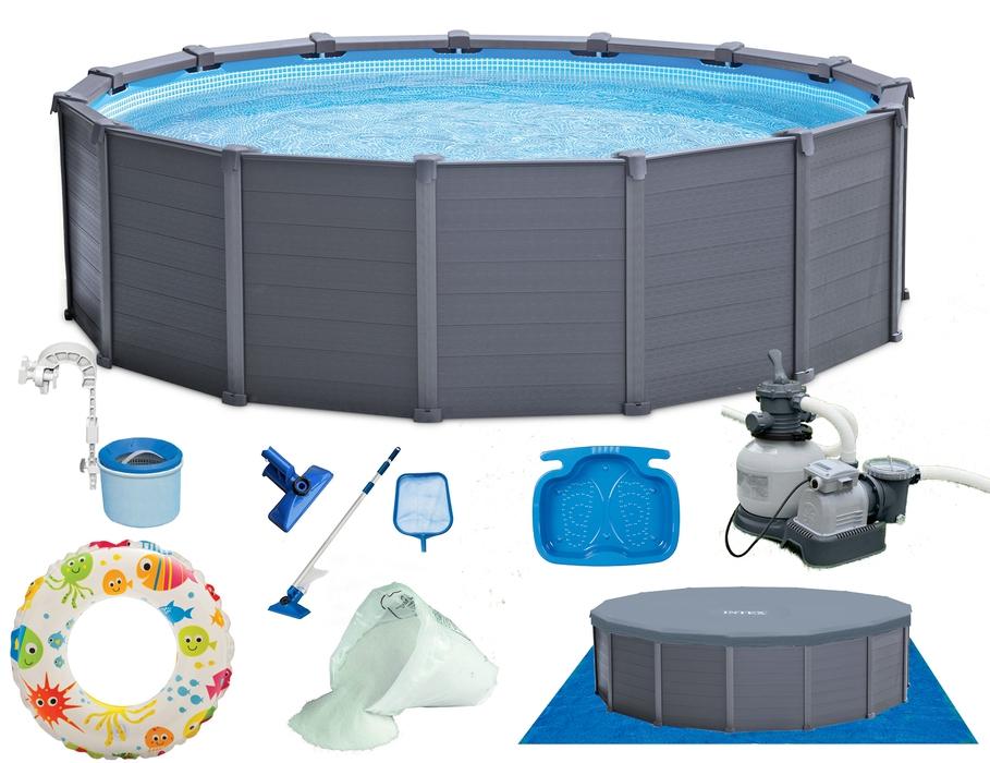 INTEX Frame Swimming Pool Graphite 478x124 cm Schwimmbecken ...